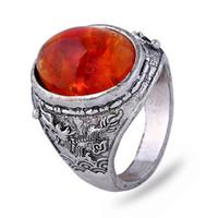 bernstein ringe frauen großhandel-24pcs Los reizender Weinlese-Silber-Harz Amber Frauen Antiker silberner Ring mit Bernstein-Ringen für Männer