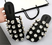 Wholesale Diamond Crystal Sandals - Black White Summer Shoes Casual Plus Size 33-44 Fashion Scuffs Studded Diamond Caged Rhinestone Sandals Flat Slides Women Crystal Slippers