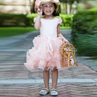 Wholesale White Knee Length Frocks - New 2017 Lovely Pink Flower Girl Dress With Shirt Sleeve Knee-Length Dress For Girl Kids Frock Designs Sashes Wedding Gowns Kids