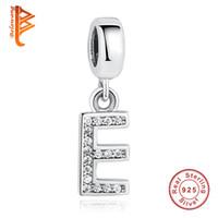 "Wholesale Letter E Charm - BELAWANG European 925 Sterling Silver Alphabet Charms Letter ""E"" 26 Letters Charm Beads Fit Pandora Charm Bracelets&Bangles DIY Jewelry"