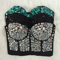 Wholesale Bra Top Club - Wholesale-Original Hand-made Beaded Gaga Rhinestone Bustier Pearls Push Up Night Club Bralette Women's Bra Cropped Top Vest Plus Size