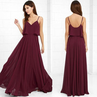 Wholesale purple beach style wedding dresses online - 2017 Country Style Bridesmaid Dresses Burgundy Spaghetti Straps A Line Chiffon Beach Maid of Honor Prom Gowns Backless Wedding Guest Wear