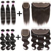 Wholesale Ombre Bundle Weave - Brazilian Virgin Hair Body Wave Straight With 4x4 Lace Closure Or 13x4 Lace Fontal Ear To Ear Human Hair Extensions Weave Bundles Wefts