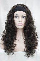 Wholesale auburn wavy half wigs resale online - Charming beautiful fashion brown wig with headband synthetic wavy women s half wig