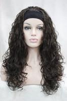 perruques auburn ondulées achat en gros de-Livraison gratuite Charme belle mode brune 3/4 perruque avec bandeau synthétique demi-perruque femmes