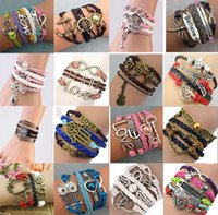 Wholesale infinity stainless wholesale - DIY Infinity Bracelets Charming Antique Cross Bracelets Hot sale 37 Styles fashion Leather Multiplayer Bracelets Acc004