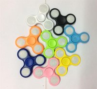 Wholesale Orange Tip - 2017 New LED Light Hand Spinners Fidget Spinner Top Quality Triangle Finger Spinning Top Colorful Decompression Fingers Tip Tops Toys