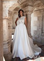 Wholesale China Dress Satin - Designers Simple Satin Wedding Dresses 2017 Vestido De Noiva Ivory Satin Boat Neck China Cheap Merry Long Summer Beach Garden Bridal Gowns