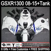 siyah beyaz gsxr toptan satış-SUZUKI Hayabusa GSXR1300 08 Için 15 çiftler GSXR-1300 parlak beyaz 14MY98 GSXR 1300 GSX R1300 08 09 10 11 12 13 14 15 Fairing beyaz siyah Kiti