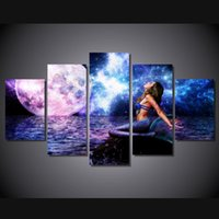 Wholesale modern picture frame set - 5 Pcs Set Framed HD Printed Mermaid Fantasy Picture Wall Art Canvas Room Decor Poster Canvas Modern Oil Painting