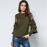 Wholesale Long Sleeves For Females - 2017 Spring Small Stand Collar Net Yarn Splicing T-shirts for Women Trumpet Stitching Long Sleeve Lady T-shirt Female
