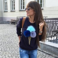 Wholesale Ladies Cotton Shirts Designs - New Design Fashion Ice Cream Printed Fur Ball Women T Shirts Cotton O Neck Long Sleeves Casual Lady Sweatshirts S--2XL