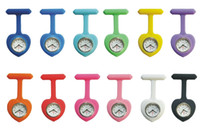 Wholesale Modern Silicon Watches - 12 colors Heart-shaped silicon silicone Nurse Medical Doctor Clip-on Fob Brooch Pendant Hanging Pocket Watch watches