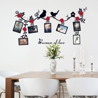 Wholesale Decorative Birds Decals - New Red flower and birds photo wall photo frame removable wall decal living room DIY decorative wall sticker vinilos pegatinas de pared