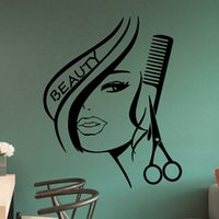 Wholesale Salon Decals - Handmade Graphic vinyl wall sticker of Beauty Hair Salon for barber shop decorative wall decal mural vinilos pegatinas de pared 3006