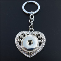 Wholesale 12pcs Fashion Crystal Rhinestone Love Heart Key Chains Metal Ginger mm Snap Buttons Keyrings Jewelry
