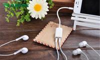 Wholesale Earphone Audio Splitter - 3.5mm White 1 in2 AUX Audio Splitter Cable Headphone Earphone Adapter Male To Female KF-A1069