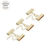 Wholesale Metal Cord Ends Clasps - LINSOIR 5set End Caps Clasps Fit 4*25mm Leather Cord Bracelet Necklace Kc Gold Color Metal Lobster Clasps Jewelry Making F845