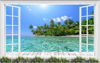 Non Woven painted floors pictures - 3d room wallpaper custom photo mural Floor to ceiling island sea view decor painting picture d wall murals wallpaper for walls d
