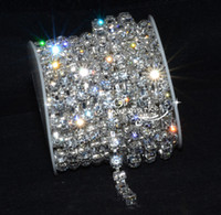 Wholesale Diamante Rhinestone Yard - 10 yard Diamante 8mm Clear Rhinestone Silver Chain SS38 Garment Accessories