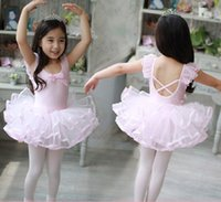 Wholesale Tutu Ballet Leotard Dresses - Lovely Girls Tutu Ballet Dance Dress For Children Cotton Gymnastics Leotard Dance Costumes Kids Ballerina Dancewear