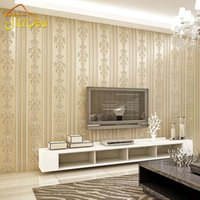 Wholesale Damask Backgrounds - Wholesale- Modern Damask Stripe Non-Woven Wallpaper Flocking Papel De Parede Floral Wall Paper Roll For Living Room Bedroom Sofa Background