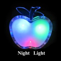Wholesale Apple Wall Lamp - Wholesale- Beautiful Colorful LED Apple Night Light US Plug Bedside Lamp LED Energy-saving Wall Lamp Nightlight for Children Gift