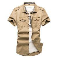 chemises gratuites de l'armée achat en gros de-Livraison gratuite coton chemises à manches courtes pour hommes à manches courtes, plus la taille uniforme militaire en vrac chemise coton rembourré armée chemises