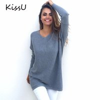 Wholesale Women S Cashmere Sweaters Wholesale - Wholesale- KissU Women V Neck Cashmere Long Sweater Fashion Long Sleeve Black White Pink Casual Winter Basic Sweaters Plus Size Tops 50
