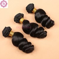 Wholesale human loose curl hair bundles for sale - Group buy Bouncy Curly Brazilian Peruvian Malaysian Indian Loose Wave Human Hair Weave Cheap Loose Curl Brizilian Hair Extensions Bundles Deal