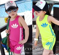 Wholesale Kid Girl Clothing Model - 2017 Summer kids clothing set explosion models cotton sleeveless Children Vest + shorts boys sport suit girls jogging sportswear