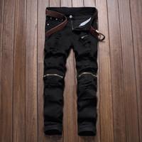 Wholesale Black Hole Club - Wholesale-2016 hotsale black knee zipper hole men's jeans male club irregularities destroyed denim fabric stretch beggar trousers