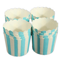 Wholesale White Paper Muffin Cups - Best selling 50X Cupcake Paper Cake Case Baking Cups Liner Muffin Dessert Baking Cup Blue White Striped
