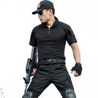 Wholesale Short Hunting Jacket - Men's Short Sleeve Camouflage Hunting Suit Combat Uniform Hunting Jacket And Pants Tactical Army Combat Uniform Army Combat Suit