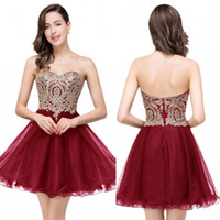Wholesale Gowns 39 - Only $39 New Cheap 7 Colors Mini Short Homecoming Dresses 2016 Little Black Lace Appliques Tulle Cocktail Burgundy Prom Party Gowns CPS411