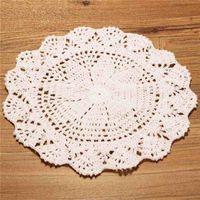 Wholesale Crochet Cup Placemat - Wholesale-New Arrival Vintage Style Floral Hand Crochet Handmade Cotton Beige Doily Cup Table Mat Doilies Crochet Placemat Coasters