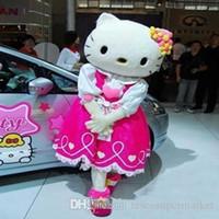 personajes de dibujos animados de calidad al por mayor-Venta caliente hola gatito traje de la mascota tamaño adulto alta calidad Hello Kitty personaje de dibujos animados disfraces traje de disfraces, en stock