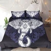 Wholesale King Comforter Sets Flowers - Wholesale Elephant Bedding Set Black Mandala Flower Comforter Set Queen King Bohemian Devet Cover with Pillow cover Bedclothes Home Textile