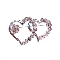 Wholesale Wholesale Small Clear Plates - Rhodium Silver Tone Clear Diamante Crystal Double Heart Small Pin Brooch