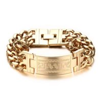 Wholesale chunky gold bracelets men - Mprainbow Mens Bracelets Stainless Steel Greece Key ID Bracelet for Men Double Cuba Chain Fashion Jewelry Bold and Chunky