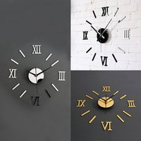 Wholesale Diy 3d Clock - Wholesale-3D Acrylic Mirror Surface Roman Numerals Wall Clock Stickers Home DIY Decor