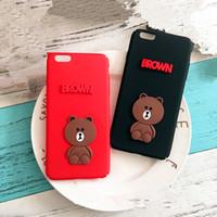 telefon fälle für iphone bär großhandel-Anti Knock Brown Bear Telefon Fall Silikon Solide Nette Tiere Handy Fall Für iphone 7 7 plus 6 6 plus