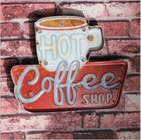 Wholesale Metal Led Signs - 2017 Coffee Shop Vintage Neon Sign Decorative painting LED metal signs bar Cafe Cerveja Shabby chic wall decoration signboard FMLY51003