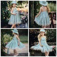 Wholesale Tut Dresses - summer 2017 baby girl floral dresses suspender dress bowknot lace toddler backless beach dress baby clothes kids clothing vintage flower tut