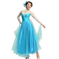 Wholesale foxtrot clothing online - High grade diamond lace dress modern dance waltz Tango Foxtrot quickstep costume competition clothing standard ballroom dance skirt
