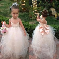 Wholesale New Children Image - Brand New Flower Girl Dresses with Bow Spaghetti straps for Wedding Party Communion Pageant Dress Ball Gown Little Girls Kids Children Dress
