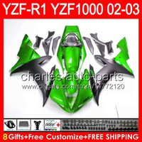 Wholesale green r1 fairings - gloss green 8gifts Body For YAMAHA YZFR1 02 03 YZF1000 YZF-R1 02-03 92NO87 YZF 1000 YZF-1000 YZF R 1 YZF R1 2002 2003 green black Fairing