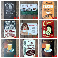 Wholesale Decoration Shop - COFFEE Vintage Tin Signs Retro Metal Sign Antique Imitation Iron Plate Painting Decor The Wall Of Bar Cafe Pub Shop (Mixed designs)