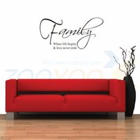 Wholesale Tattoo Sticker Love - Family where life begins and decorative tattoos love never ends appointment adesivo parede wall removable vinyl wall sticker