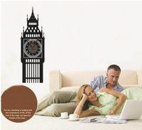 Wholesale Originality Clock - free shipping cartoon originality diy waterproof pvc stick a wall clock Black Big Ben Arts and crafts clock Wall Stickers